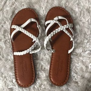 American Eagle Outfitters strappy white sandals